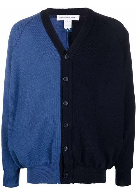 cardigan bicolore uomo blu in acrilico COMME DES GARÇONS SHIRT | Maglieria | FH-N501-W211