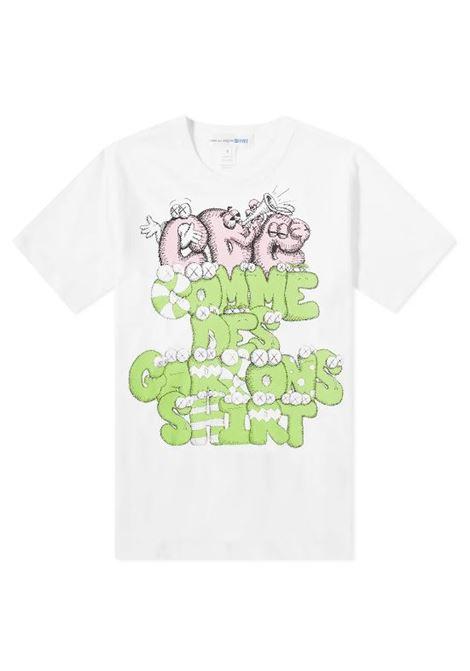 printed t-shirt man white in cotton COMME DES GARÇONS SHIRT | T-shirts | FH-T004-W211
