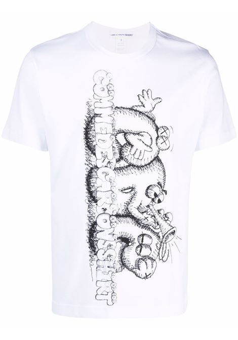 t-shirt con stampa uomo bianca in cotone COMME DES GARÇONS SHIRT | T-shirt | FH-T007-W211