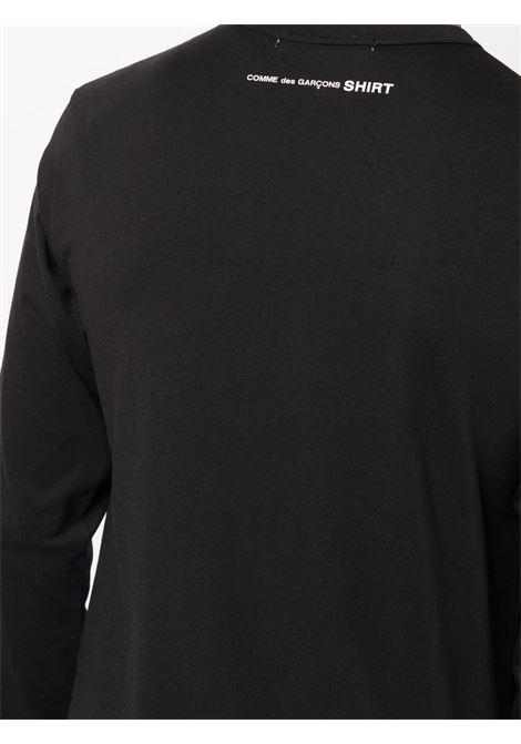 t-shirt a maniche lunghe uomo nera in cotone COMME DES GARÇONS SHIRT | T-shirt | FH-T012-W211