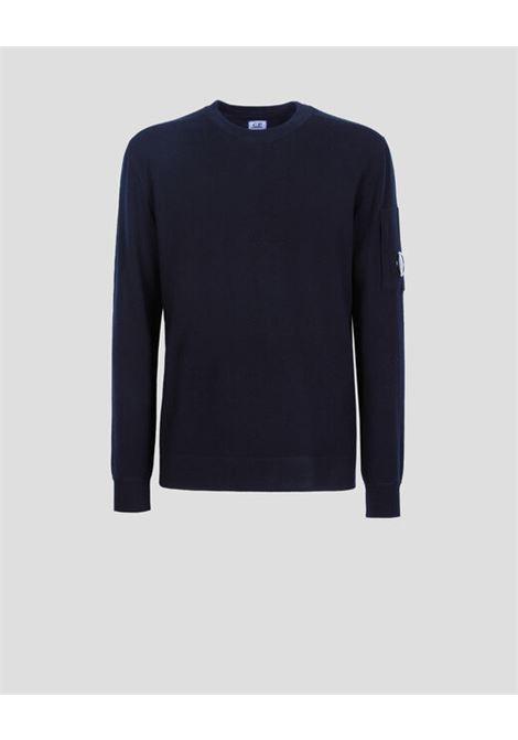 crewneck sweater man black C.P. COMPANY | Sweaters | 11CMKN091A005528A999