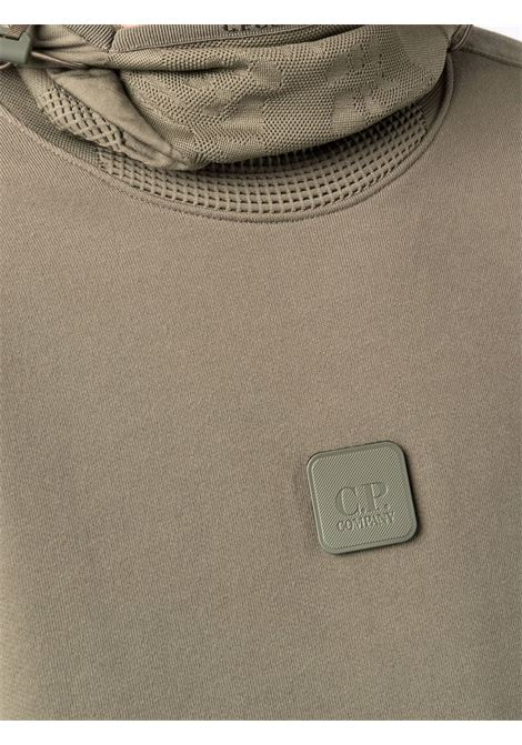 felpa con cappuccio uomo verde in cotone C.P. COMPANY | Felpe | 11CMSS068A005086W665