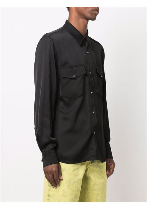 curnes shirt man black in viscose DRIES VAN NOTEN | Shirts | CURNES 3159900