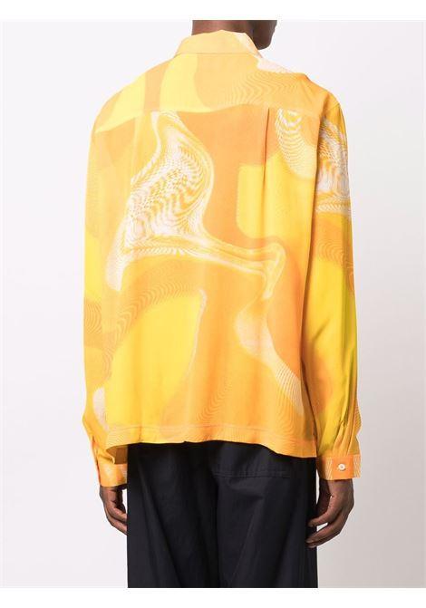 camicia con stampa uomo gialla in viscosa ERL | Camicie | ERL03B0033