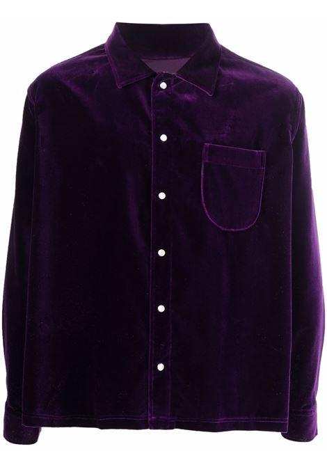 camicia woven uomo viola in cotone ERL | Camicie | ERL03B0061