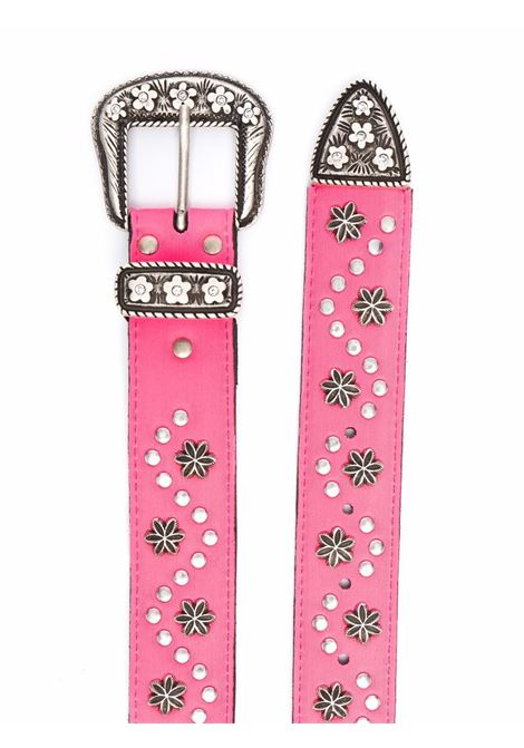 belt with flowers man pink in leather ERL | Belts | ERL03K0203