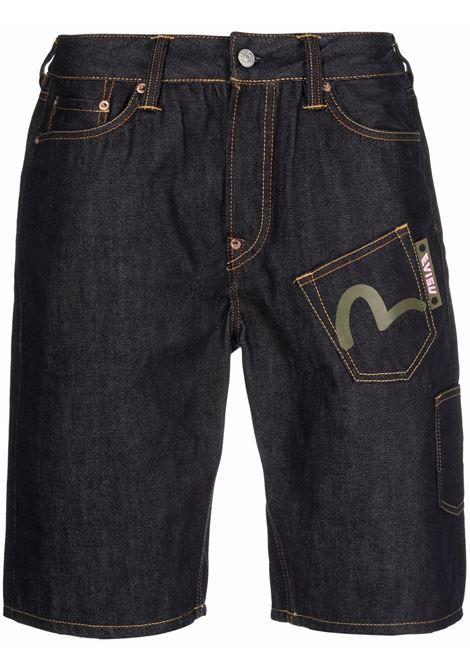 denim shorts with logo man blue in cotton EVISU | Shorts | 2EAEBM1DS121XXINDD
