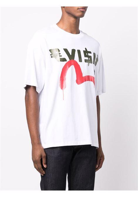 t-shirt con logo uomo bianca in cotone EVISU | T-shirt | 2EAEBM1TS552LFWHTE