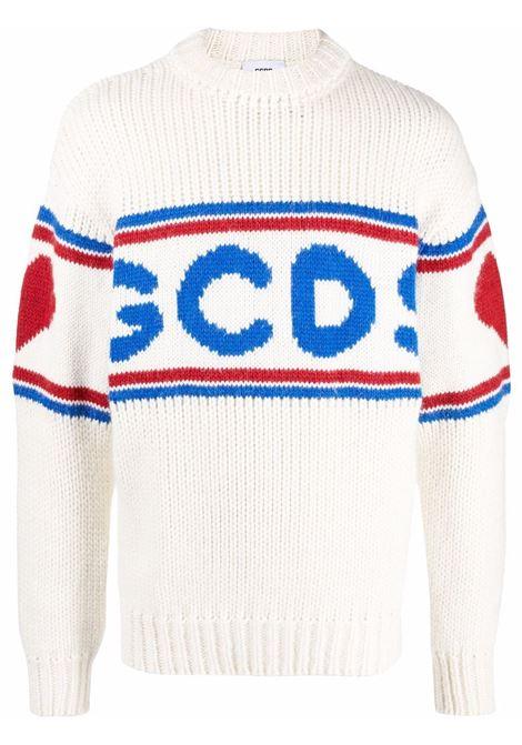 logo sweater man white in wool GCDS | Sweaters | CC94M02116066