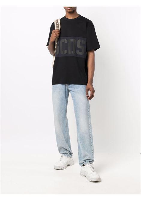 logo t-shirt man black in cotton GCDS | T-shirts | CC94M02150102