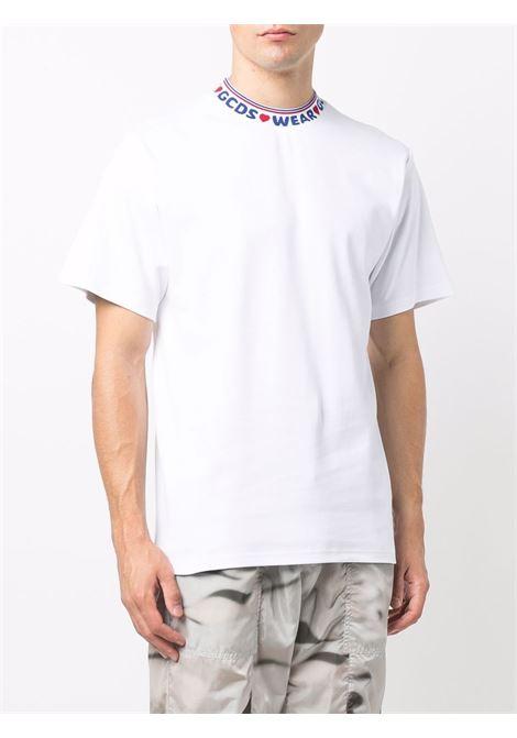 collar t-shirt man white in cotton GCDS | T-shirts | CC94M02150401