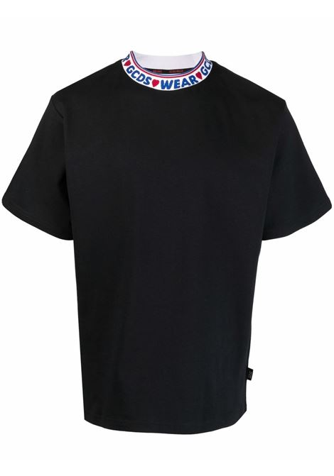 collar t-shirt man black in cotton GCDS | T-shirts | CC94M02150402