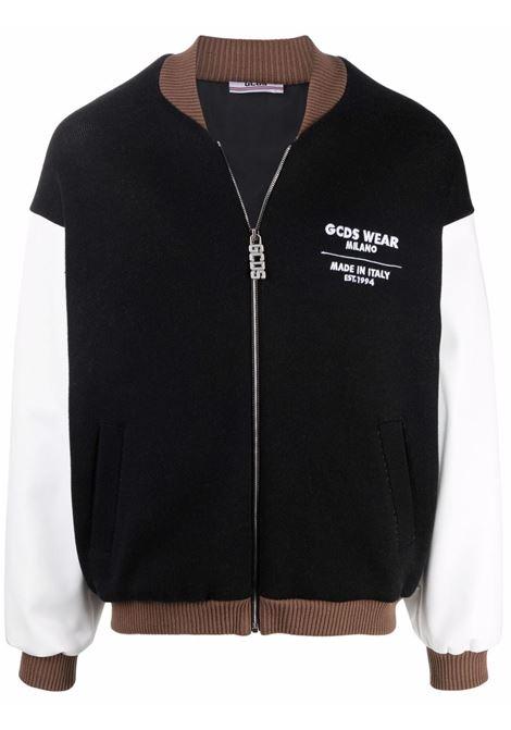 giacca bomber uomo nera in misto lana GCDS | Giacche | CC94M04160002