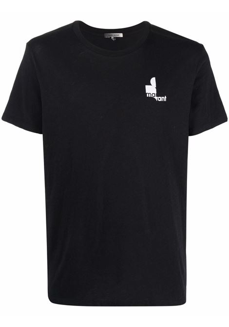 zafferh t-shirt man black in cotton ISABEL MARANT | T-shirts | 00MTS0433-00M900H01BK