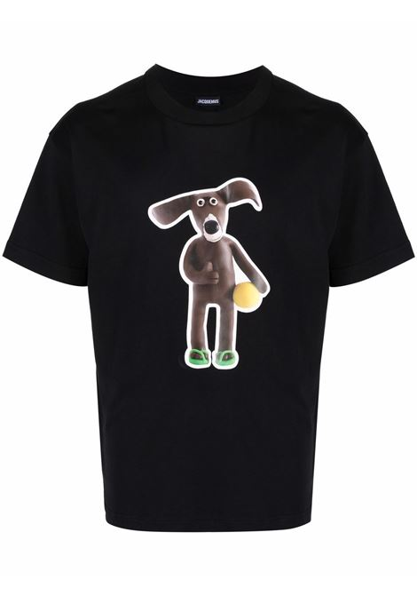 printed t-shirt man black in cotton JACQUEMUS | T-shirts | 216JS19-2169AD