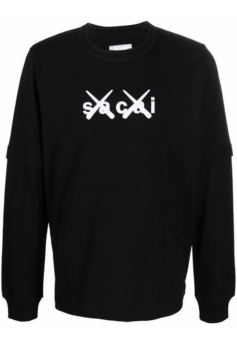 t-shirt con logo uomo nera in cotone KAWS X SACAI | T-shirt | 21-0287S003