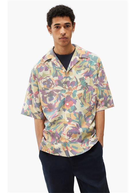 camicia con stampa uomo multicolor in misto cotone KENZO | Camicie | FB65CH1409S150