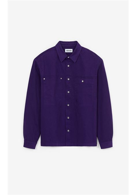 shirt with embroidery man purple in cotton KENZO | Shirts | FB65CH5151TA80