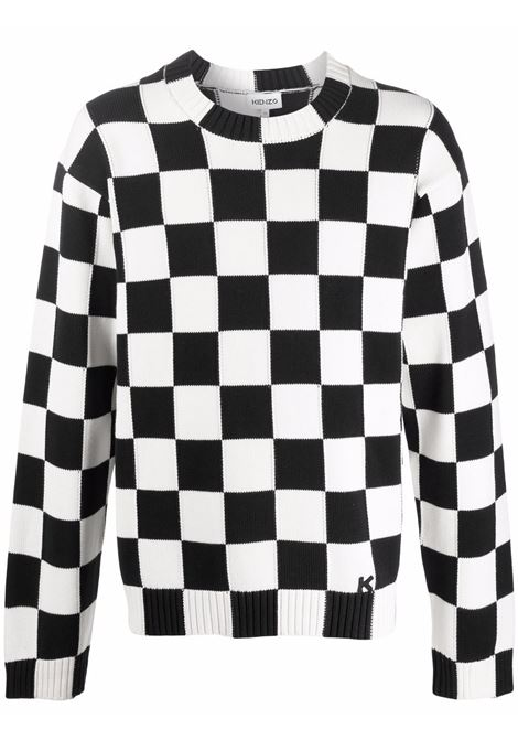 checked sweater man black and white in cotton KENZO | Sweaters | FB65PU6003CD01