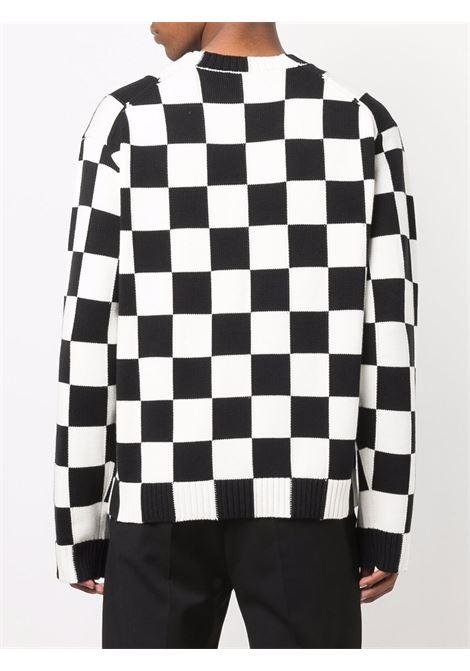 maglione a quadri uomo bianco e nero in cotone KENZO | Maglieria | FB65PU6003CD01
