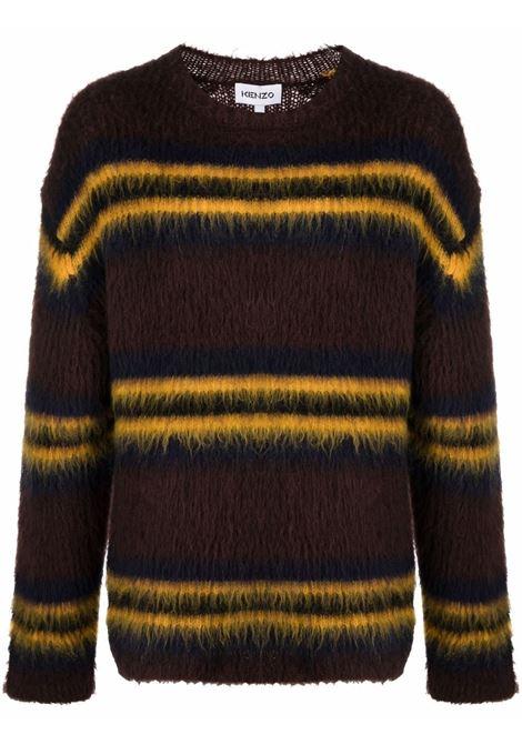 maglione a righe uomo marrone KENZO | Maglieria | FB65PU6153CH90B