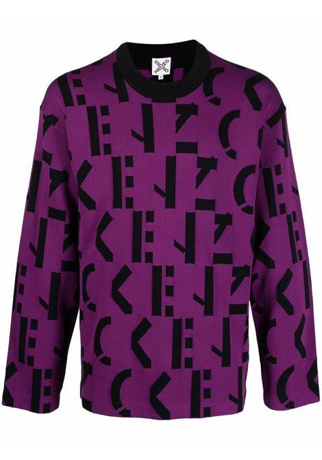 logo knitwear man purple KENZO | Sweaters | FB65PU6373SD83