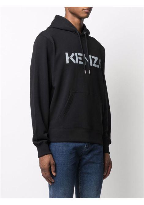 Felpa con logo Nera in Cotone Uomo KENZO | Felpe | FB65SW3004ML99