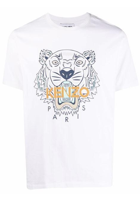 t-shirt con logo uomo bianca in cotone KENZO | T-shirt | FB65TS0204YA01B