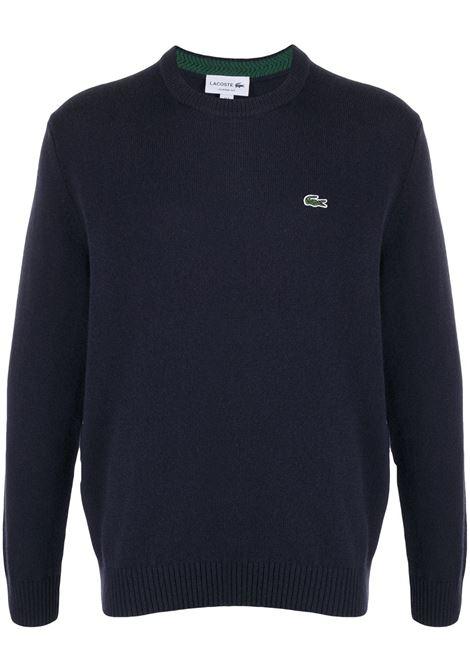 maglione con logo uomo blu in lana LACOSTE | Maglieria | AH1988166