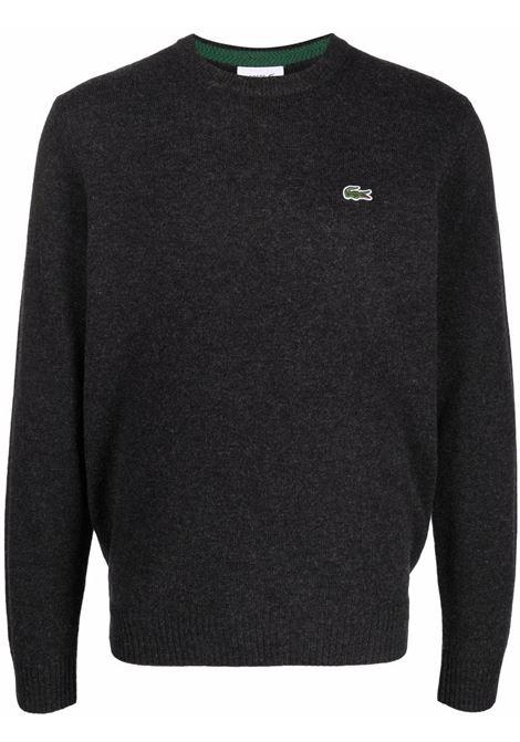 maglione con logo uomo grigio in lana LACOSTE | Maglieria | AH1988EL6