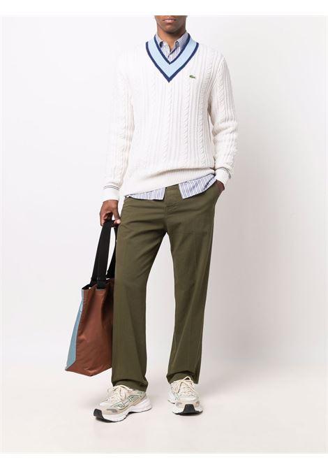 maglione scollo a v unisex bianco in lana LACOSTE | Maglieria | AH8021S4W