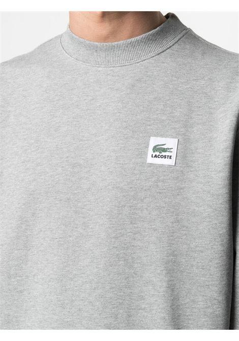 felpa con logo unisex grigia in cotone LACOSTE | Felpe | SH91824JV