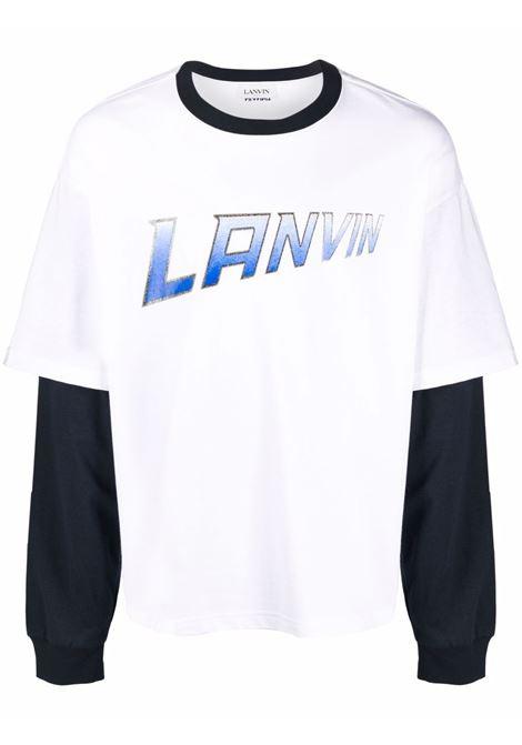 t-shirt manica lunga uomo bianca in cotone LANVIN | T-shirt | RM-TS0020-J054-A2101