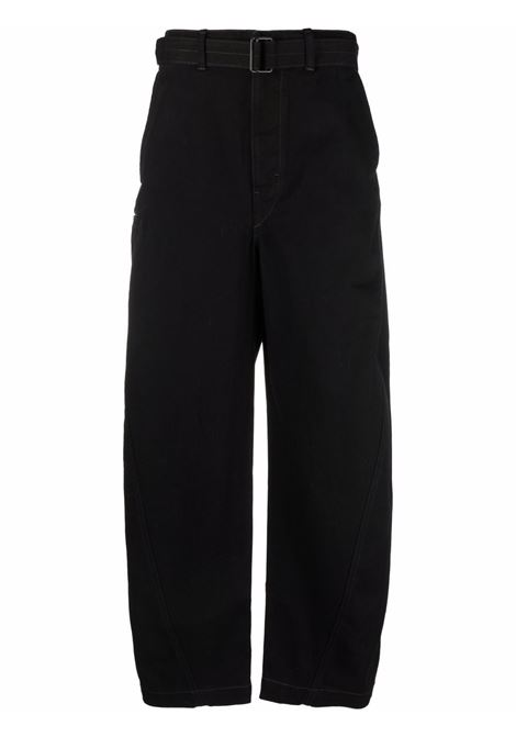 trousers with belt man black in cotton LEMAIRE | Trousers | M 213 PA137 LD069999