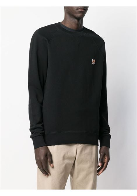 felpa con logo uomo nera in cotone MAISON KITSUNÉ | Felpe | AM00303KM0001P199