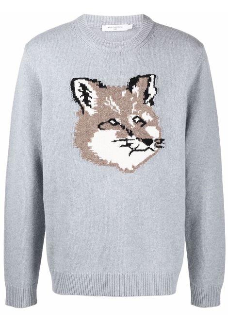 maglione con ricamo uomo grigio in lana MAISON KITSUNÉ | Maglieria | HM00509KT1016P150