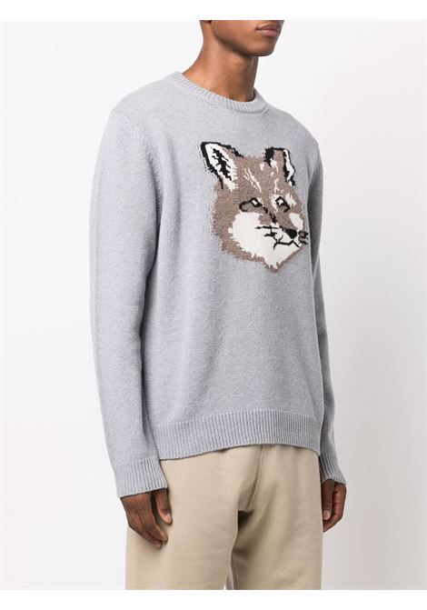 sweater with embroidery man gray in wool MAISON KITSUNÉ | Sweaters | HM00509KT1016P150