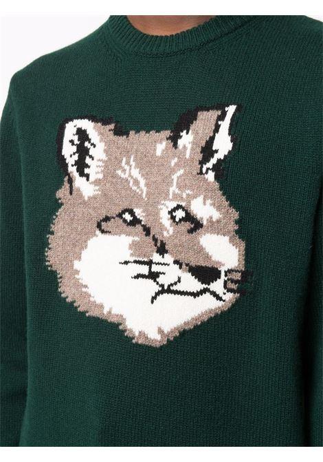fox sweater man green in wool MAISON KITSUNÉ   Sweaters   HM00509KT1016P390