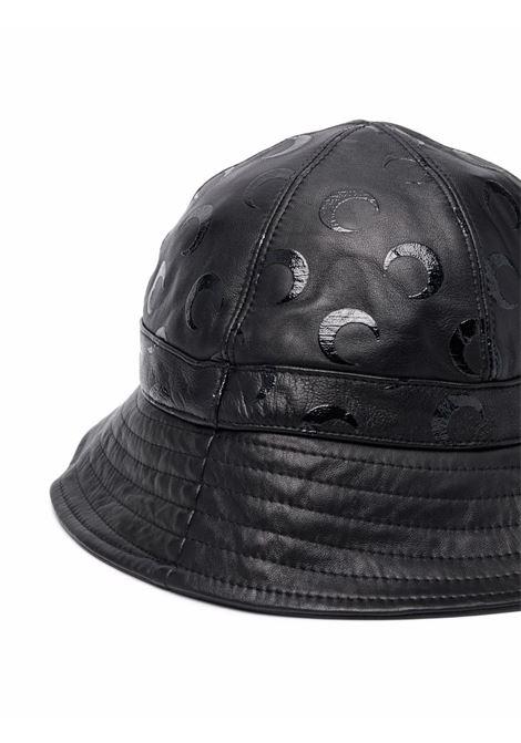 cappello bucket unisex nero in pelle MARINE SERRE | Cappelli | A128FW21X00