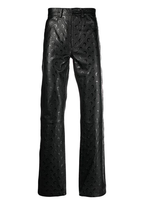 pantaloni dritti uomo neri in pelle MARINE SERRE | Pantaloni | P021ICONM00