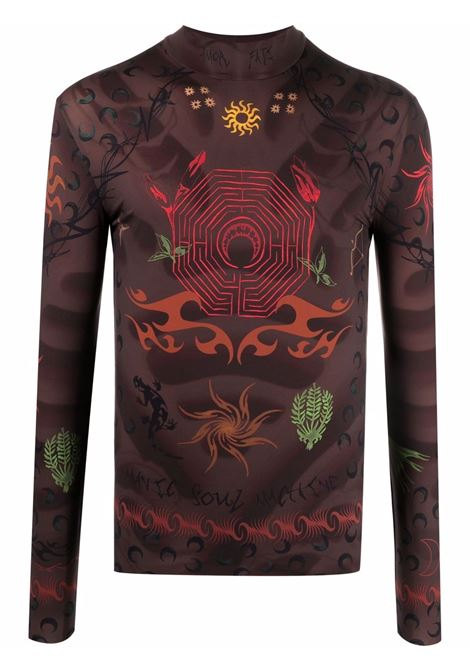 t-shirt second skin uomo marrone MARINE SERRE | T-shirt | T088FW21M08