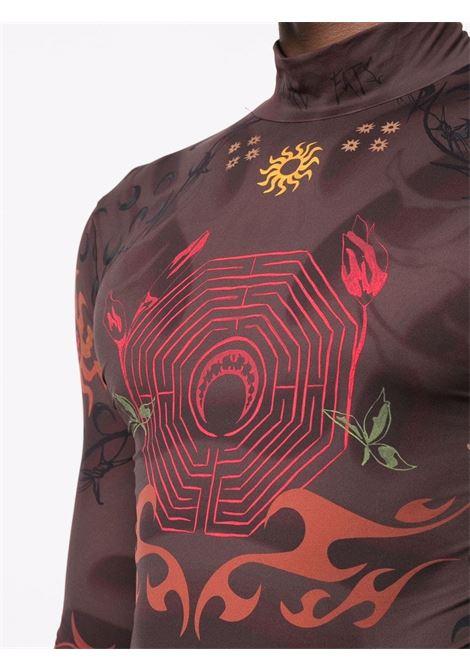 second skin tshirt man brown  MARINE SERRE | T-shirts | T088FW21M08