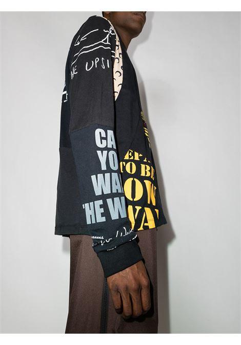 t-shirt grafica uomo nera in cotone MARINE SERRE | T-shirt | T183FW21MU00