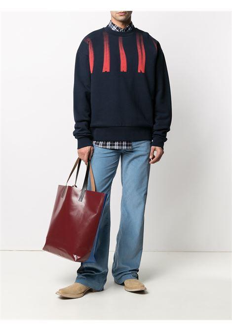 sweatshirt with print man blue in cotton MARNI | Sweatshirts | FUMU0074P0 UTC02900B99