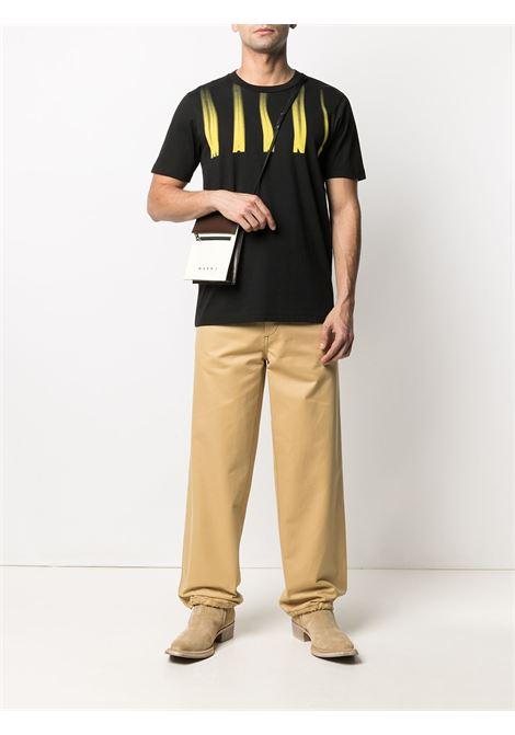 t-shirt with print man black in cotton MARNI | T-shirts | HUMU0198PO UTCZ5700N99