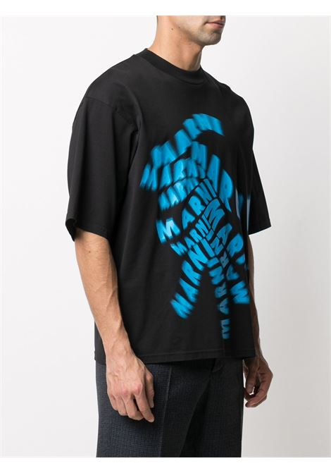 t-shirt con stampa uomo nera in cotone MARNI | T-shirt | HUMU0229P0 UTC01700N99