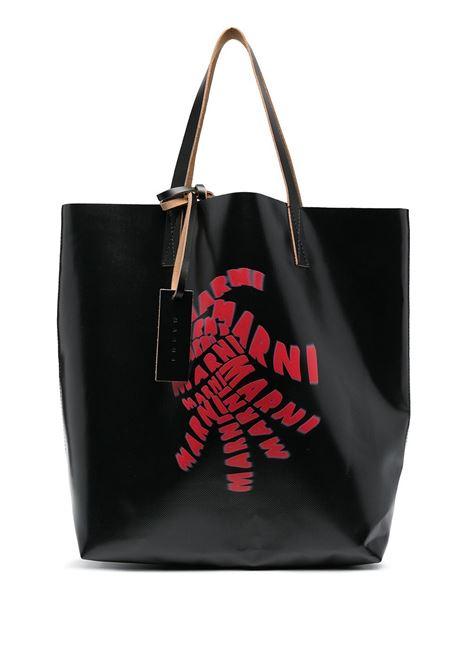 borsa tote con stampa unisex nera in poliestere MARNI | Borse | SHMQ0000A7 P0625Z2020