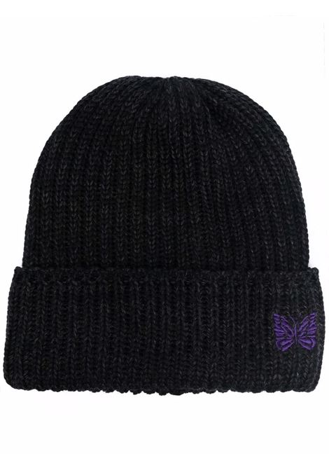 hat with embroidery man black in wool NEEDLES | Hats | JO040CHARCOAL C