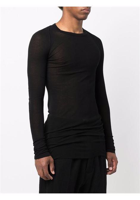 semi transparent t-shirt man black RICK OWENS | T-shirts | RU02A5250 RC09