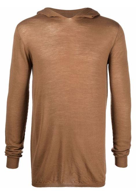 felpa ls hoodie uomo marrone in cotone RICK OWENS | Felpe | RU02A5623 M24